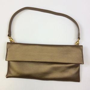 Bronze Metallic Leather Convertible Clutch